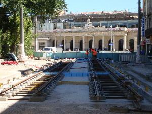 4 lignes de trams se croiseront devant la gare de Montpellier, photo Philippe-Enrico Attal