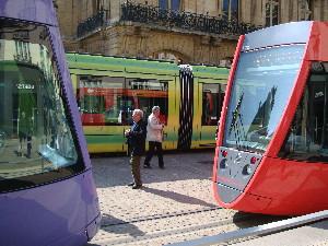 Festival de couleurs pour les rames du tramway le jour de l'inauguration, photo Philippe-Enrico Attal