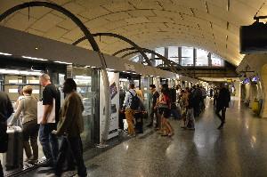 L'actuelle station Saint-Lazare sur la ligne 14 en attendant le prolongement vers Saint-Ouen en 2017, le 27 juin 2014, photo Philippe-Enrico ATTAL