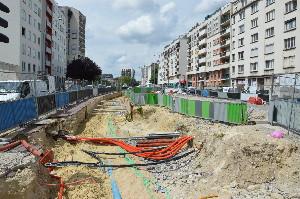 Les premiers travaux à Mairie de Saint-Ouen du prolongement de la ligne 14, le 27 juin 2014, photo Philippe-Enrico ATTAL